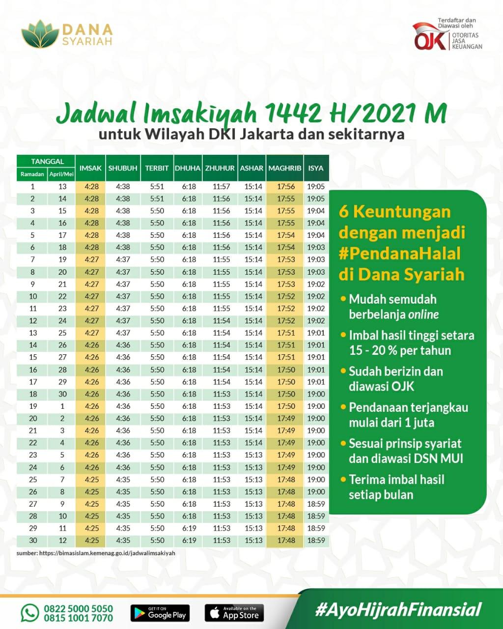 Dana Syariah Jadwal Imsakiyah dan Puasa Ramadhan 1442 H - 2021 M
